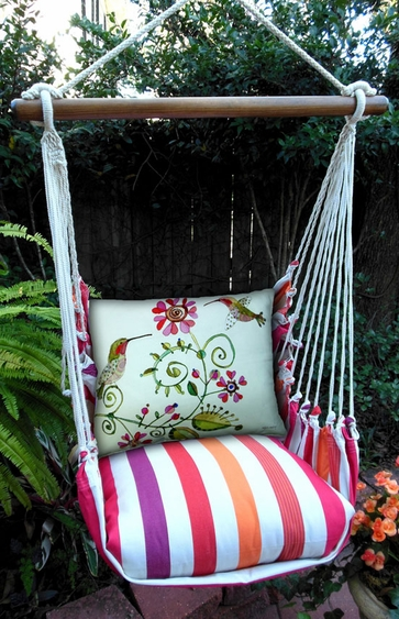 Cristina Stripe Hummingbird Hammock Chair Swing Set - Click to enlarge