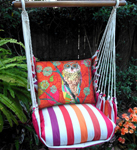 Cristina Stripe Red Owl Hammock Chair Swing Set