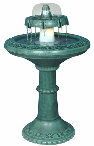 Decorative Lighted Birdbath Fountain - Click to enlarge
