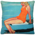 Diving Board Girl Outdoor Pillow