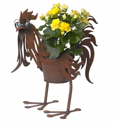 Doc the Metal Rooster Planter - Click to enlarge