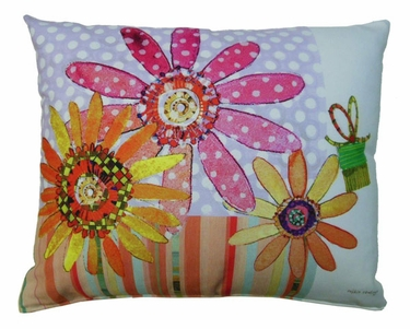 Dotted Daisies Outdoor Pillow - Click to enlarge