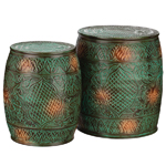 Emerald Flower Garden Stools & Planters (Set of 2)