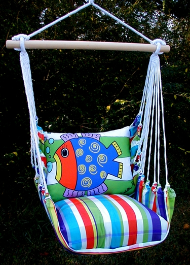 Fine & Dandy Blue Fish Hammock Chair Swing Set - Click to enlarge