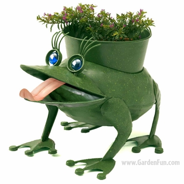 Fiona the Metal Frog Planter - Click to enlarge