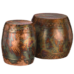 Flamed Copper Garden Stools & Planters (Set of 2)