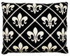 Fleur de Lis Black Outdoor Pillow