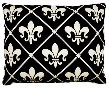 Fleur de Lis Black Outdoor Pillow - Click to enlarge
