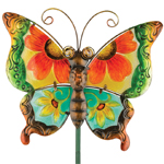 Floral Glass Butterfly Stake - Green