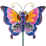 Floral Glass Butterfly Stake - Purple