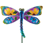 Floral Glass Dragonfly Stake - Blue