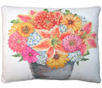 Flowers in Tin Bucket Outdoor Pillow