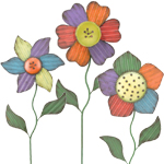 Folk Flower Garden Stakes (Set of 3)