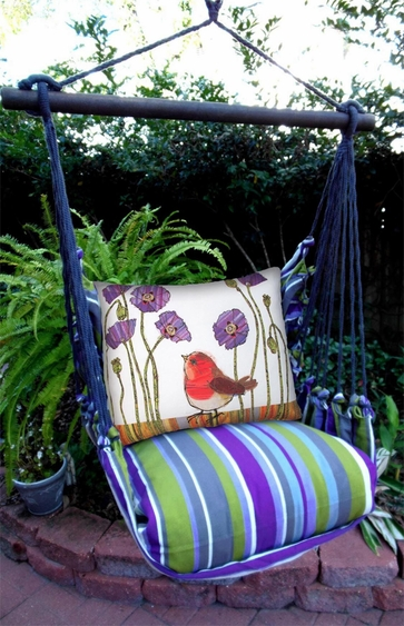 Folsom Bird w/Purple Poppies Hammock Chair Swing Set - Click to enlarge