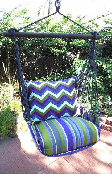 Folsom Stripe Chevron Hammock Chair Swing Set - Click to enlarge