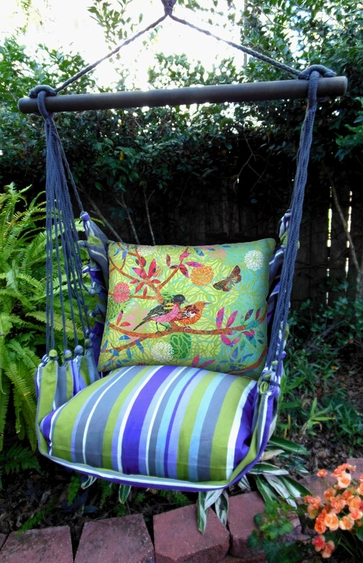Folsom Stripe Prism Garden Hammock Chair Swing Set - Click to enlarge