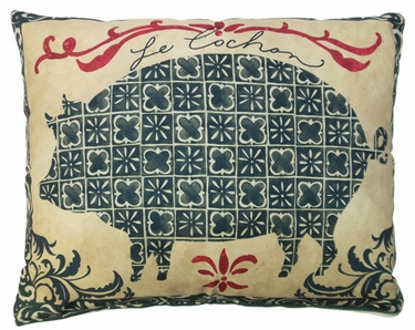 French Pig Outdoor Pillow - Click to enlarge