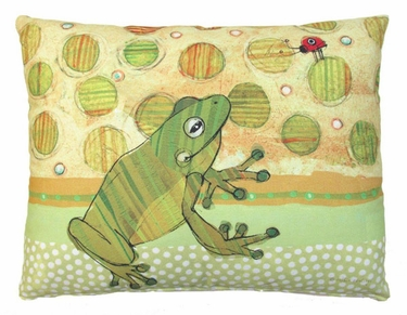 Frog and Ladybug Outdoor Pillow - Click to enlarge