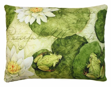 Frogs on Lily Pads Outdoor Pillow - Click to enlarge
