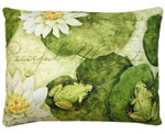 Frogs on Lily Pads Outdoor Pillow