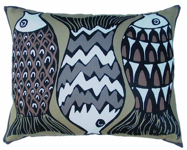 Funfish Brown Outdoor Pillow - Click to enlarge