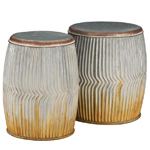 Galvanized Ridges Garden Stools & Planters (Set of 2)