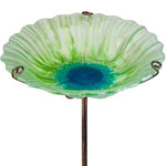 Garden Glass Bird Bath/Feeder Stake