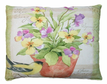 Garden Blessings - Yellow Bird Outdoor Pillow - Click to enlarge