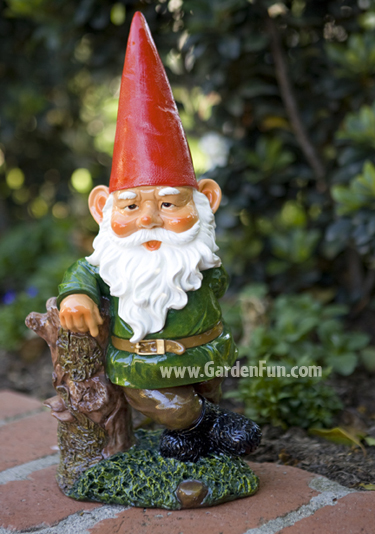 Garden Gnome Leaning on Tree - Click to enlarge
