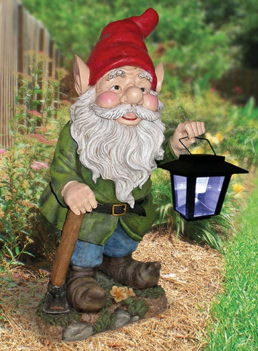 Garden Gnome with Solar Lantern - Click to enlarge