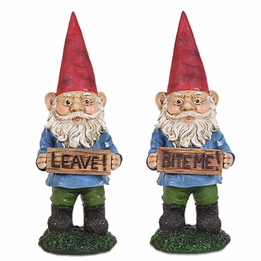Garden Gnomes w/Attitudes (Set of 2) - Click to enlarge