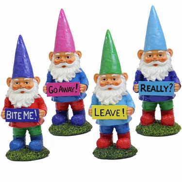 Garden Gnomes w/Attitudes (Set of 4) - Click to enlarge