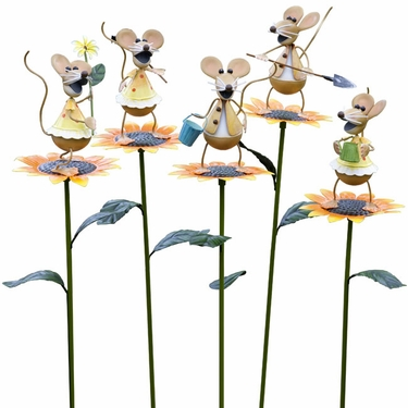 Gardening Mice Stakes (Set of 5) - Click to enlarge