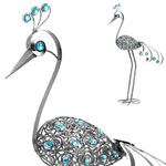 "Giant 61"" Garden Flower Bird - Pewter"