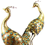 Giant Golden Peacock Birds (Set of 2)