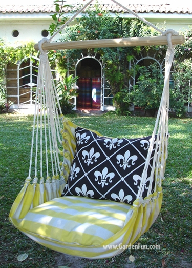 Gingham Yellow French Quarter Chair Swing Set - Click to enlarge