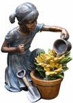 Girl Watering Flower Garden Outdoor Fountain