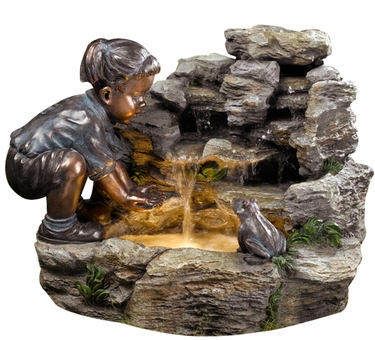 Girl with Frog Outdoor Fountain w/LED Lights - Click to enlarge