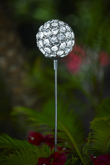 Glam Ball Powered Garden Stake - White - Click to enlarge