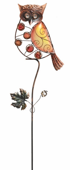 Glass Owl Garden Stake - Click to enlarge