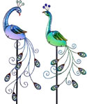 Glass Peacock Garden Stakes (Set of 2)