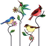 Glass Songbird Garden Stakes (Set of 4)