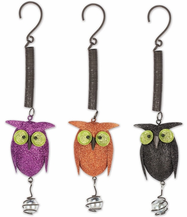 Glitter Metal Owl Bouncies (Set of 3) - Click to enlarge