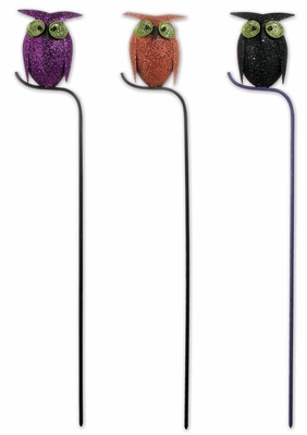 Glitter Owl Plant Stakes (Set of 3) - Click to enlarge