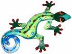 Green Blue Gecko Wall Decor