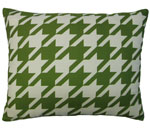 Green Houndstooth Outdoor Pillow