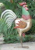 "48"" Large Iron Garden Rooster - Green"