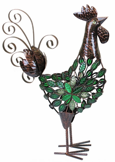 Green Mosaic Rooster Decor - Click to enlarge
