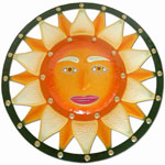 Green Orange Sun Wall Decor