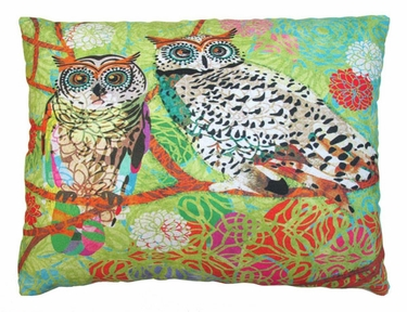 Green Owl Pair Outdoor Pillow - Click to enlarge
